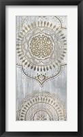 Framed Indigo Mandala I - Metallic Foil