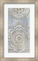 Framed Indigo Mandala II - Metallic Foil