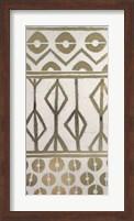 Framed Tribal Pattern in Cream I - Metallic Foil