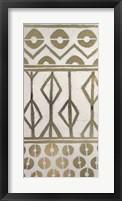 Tribal Pattern in Cream I - Metallic Foil Framed Print