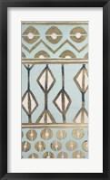 Tribal Pattern in Turquoise I - Metallic Foil Framed Print