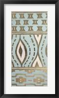 Framed Tribal Pattern in Turquoise II - Metallic Foil
