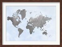 Framed Silver Foil World Map on Blue - Metallic Foil