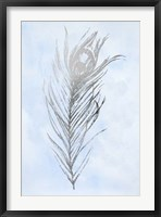 Silver Foil Feather I on Blue - Metallic Foil Framed Print