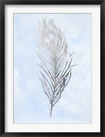 Silver Foil Feather II on Blue - Metallic Foil Framed Print