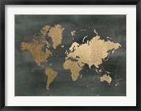 Framed Gold Foil World Map on Black - Metallic Foil