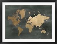 Framed Large Gold Foil World Map on Black - Metallic Foil