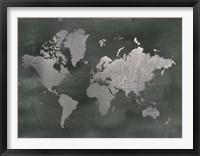 Framed Large Silver Foil World Map on Black - Metallic Foil