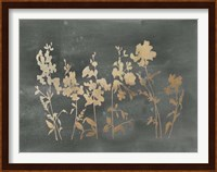 Framed Gold Foil Flower Field on Black - Metallic Foil