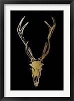 Gold Foil Rustic Mount I on Black - Metallic Foil Framed Print