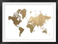 Framed Large Gold Foil World Map - Metallic Foil