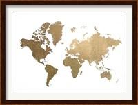 Framed Large Gold Foil World Map - Metallic Foil