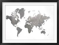 Framed Large Silver Foil World Map - Metallic Foil