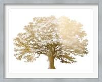 Framed Gold Foil Elephant Tree - Metallic Foil