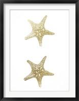2-Up Gold Foil Starfish I - Metallic Foil Framed Print