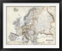 Framed Pastel Map of Europe