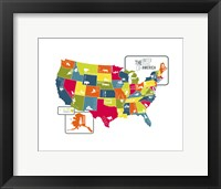 Framed USA Map (bright)