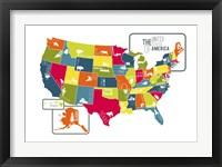 Framed USA Map (bright)