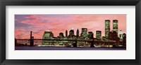 Framed Manhattan at Night - Pink Sky