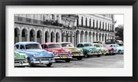 Framed Cars Parked in Line, Havana, Cuba
