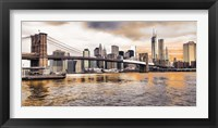 Framed Brooklyn Bridge and Lower Manhattan at sunset, NYC