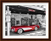 Framed Red Corvette