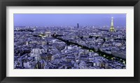 Framed Aerial View of Paris at Dusk