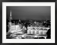 Framed Paris and Seine River at Night