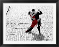 Framed Couple Dancing Tango on Cobblestone Road