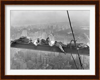 Framed Construction Workers Resting on Steel Beam Above Manhattan, 1932