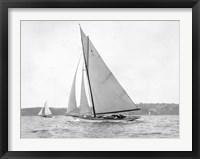 Framed Victorian sloop on Sydney Harbour, 1930