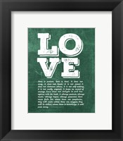 Framed Corinthians 13:4-8 Love is Patient - Green