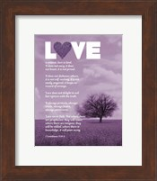 Framed Corinthians 13:4-8 Love is Patient - Lavender Field