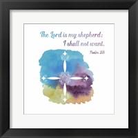 Psalm 23 The Lord is My Shepherd - Cross 1 Framed Print