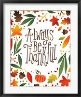 Framed Harvest Time Always Be Thankful