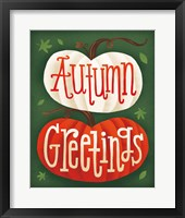 Framed Harvest Time Autumn Greetings Pumpkins