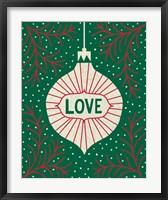 Framed Jolly Holiday Ornaments Love