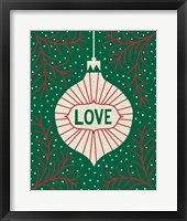 Jolly Holiday Ornaments Love Framed Print