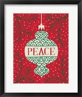 Framed Jolly Holiday Ornaments Peace