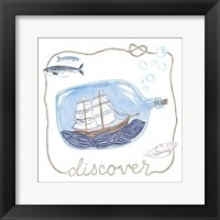 Ship in a Bottle Discover Framed Print