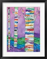 Framed Multicolored Birch Tree I