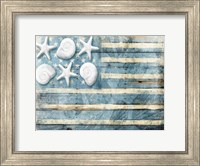 Framed Water Blue American Flag