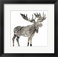 Framed Wood Moose White