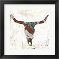 Wooden Bull Head Mate Framed Print