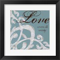 Crackle Filigree Love Framed Print