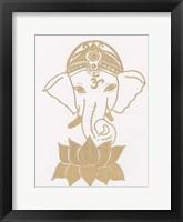 Golden Elephant Lotus Framed Print