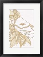 Lion Gold Framed Print