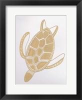 Framed Golden Sea Turtle
