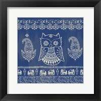 Framed Boho Owl Blue