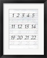 123 Penmanship Framed Print